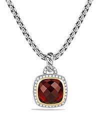 David Yurman Albion Pendant With Garnet And Diamonds With 18K Gold Gold Silver
