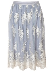 True Decadence Midi Skirt Light Blue Cream