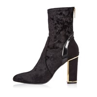 River Island Womens Ri Studio Black Velvet Gold Trim Ankle Boots