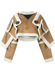 Ktz Artificial Shearling Cropped Jacket Brown