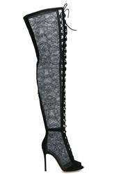 Gianvito Rossi Lace Thigh High Boots Black