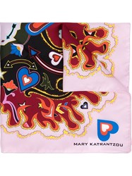 Mary Katrantzou Abstract Print Scarf Pink And Purple