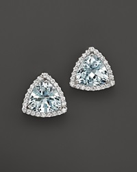 Bloomingdale's Aquamarine And Diamond Stud Earrings In 14K White Gold White Blue