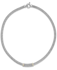 Macy's Diamond Mesh Collar Necklace In 14K Gold And Sterling Silver 1 4 Ct. T.W.