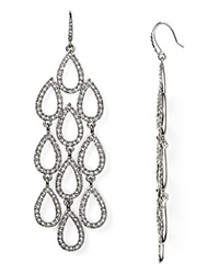 Abs By Allen Schwartz Pave Beach Chandelier Earrings Silver