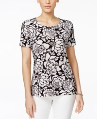 Jm Collection Short Sleeve Jacquard Tee Graphic Floral Print Stencil Blossom