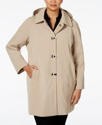 London Fog Plus Size Clip Front Hooded Raincoat Khaki