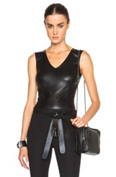 Maison Martin Margiela Maison Margiela Stretch Leather And Jersey Bodysuit In Black