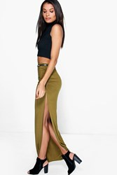 Boohoo Rouched Side Jersey Maxi Skirt Dark Olive