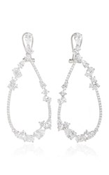Fallon Rhodium Floating Stone Teardrop Earrings Silver