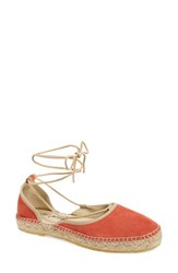 Women's Free People 'Marina' Espadrille Sandal Coral Suede