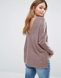 Only Deep V Back Knitted Top Brown