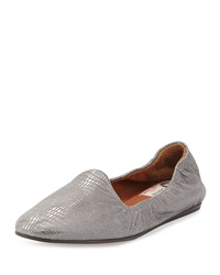 Lanvin Metallic Lizard Embossed Slipper Silver