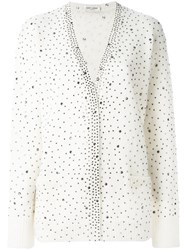 Saint Laurent Jewelled Cardigan White