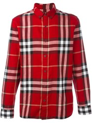 Burberry Checked Shirt Red