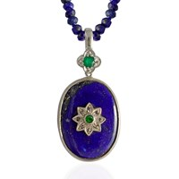 Emma Chapman Jewels Byzantine Star Lapis Lazuli Tsavorite And Diamond Necklace Blue