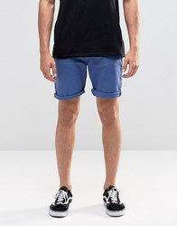 Asos Denim Shorts In Stretch Slim Bright Blue Navy Peony