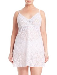 Hanky Panky Plus Size Annabelle Lace Chemise White Baby