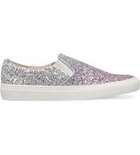 Kg By Kurt Geiger Lyon Sequined Embellished Leather Trainers Pink Comb