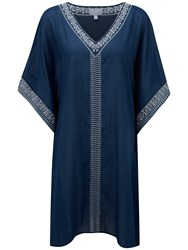 Pure Collection Eva Embroidered Voile Kaftan Dress Navy