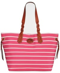 Dooney And Bourke Stripe Weekend Shopper Hot Pink Hot Pink White