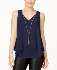 Amy Byer Bcx Juniors' Flyaway Front Tank Top With Necklace Navy