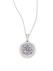 Effy Final Call Diamond Amethyst Tanzanite And 14K White Gold Medallion Pendant Necklace Purple