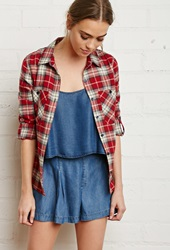 Forever 21 Button Tab Sleeve Plaid Shirt Red Beige
