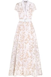 Lela Rose Belted Fil Coupe Gown Ivory