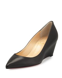 Christian Louboutin Pipina Leather 55Mm Wedge Red Sole Pump Black
