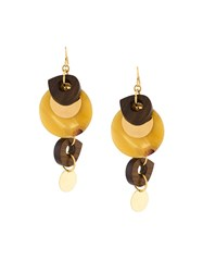 Marni Disc Drop Earrings Brown