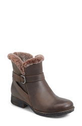 Born 'Kaia' Round Toe Shearling Ankle Boot Summer Brown Shearling