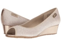 Anne Klein Camrynne Light Gold Multi Fabric Women's Wedge Shoes