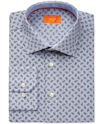 Tallia Men's Fitted White Micro Check Floral Print Dress Shirt