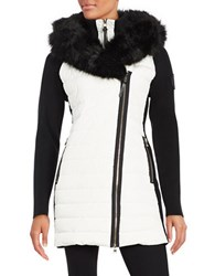 Calvin Klein Faux Fur Trimmed Hooded Quilted Parka Cloud