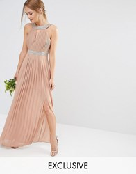 Tfnc Wedding Embellished Pleated Maxi Dress Taupe