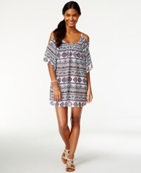 Miken Cold Shoulder Tribal Mesh Cover Up Women's Swimsuit