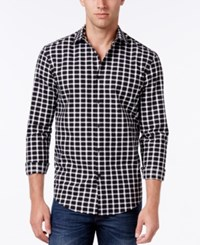 Alfani Men's Big And Tall Textured Check Long Sleeve Shirt Classic Fit Deep Black