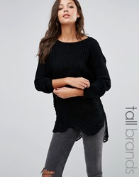 Missguided Tall Distressed Off Shoulder Jumper Black