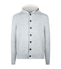 Brunello Cucinelli Button Down Cashmere Hooded Cardigan Male Grey