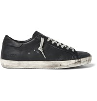 Golden Goose Superstar Distressed Leather Sneakers Black