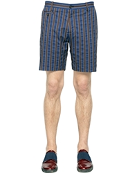Antonio Marras Striped Cotton Shorts Navy Brown