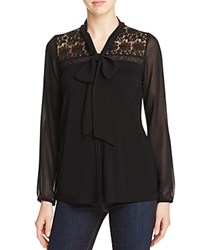 Design History Lace Yoke Tie Neck Blouse Black