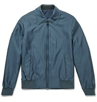 Brioni Slim Fit Reversible Silk Shell Bomber Jacket Blue