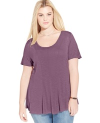 American Rag Plus Size Seamed Swing Tee Grape