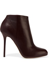 Sergio Rossi Leather Ankle Boots Dark Brown