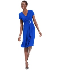 R And M Richards Short Sleeve Faux Wrap Dress Cobalt