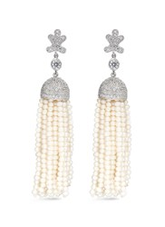 Cz By Kenneth Jay Lane Freshwater Pearl Cubic Zirconia Tassel Earrings White