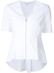 Veronica Beard Shortsleeved Zip Shirt White