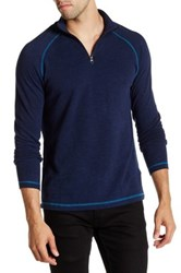 Agave Philip Long Sleeve Raglan Zip Mock Neck Pullover Blue